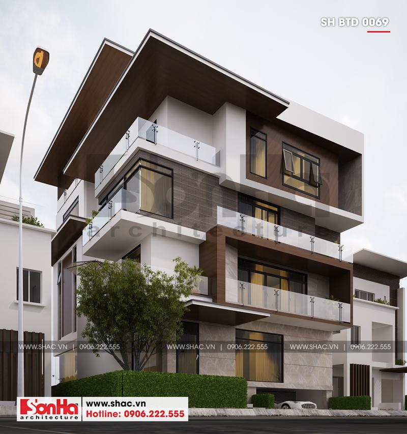 Biệt thự phố hiện đại mặt tiền 15m có tầng hầm tại Thái Bình – SH BTD 0069 2