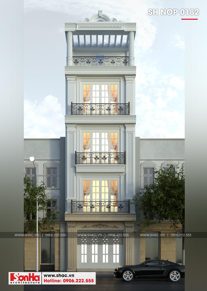 Thiết kế nhà ống tân cổ điển 4 tầng Hải Phòng mặt tiền 5m trang trí đẹp và sang