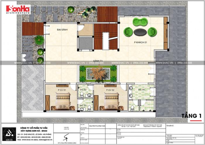 Bản vẽ mặt bằng công năng tầng 1 biệt thự hiện đại 5 tầng tại Thái Bình