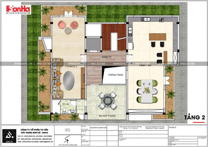 Bản vẽ mặt bằng công năng tầng 2 biệt thự hiện đại 5 tầng tại Thái Bình