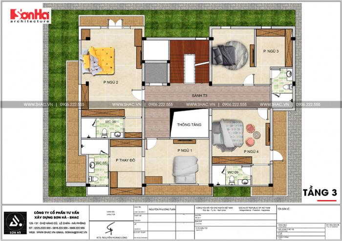 Bản vẽ mặt bằng công năng tầng 3 biệt thự hiện đại 5 tầng tại Thái Bình