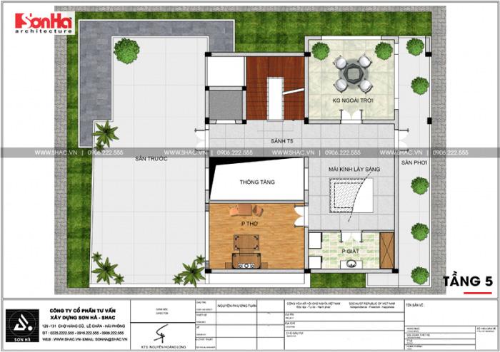 Bản vẽ mặt bằng công năng tầng 5 biệt thự hiện đại 5 tầng tại Thái Bình