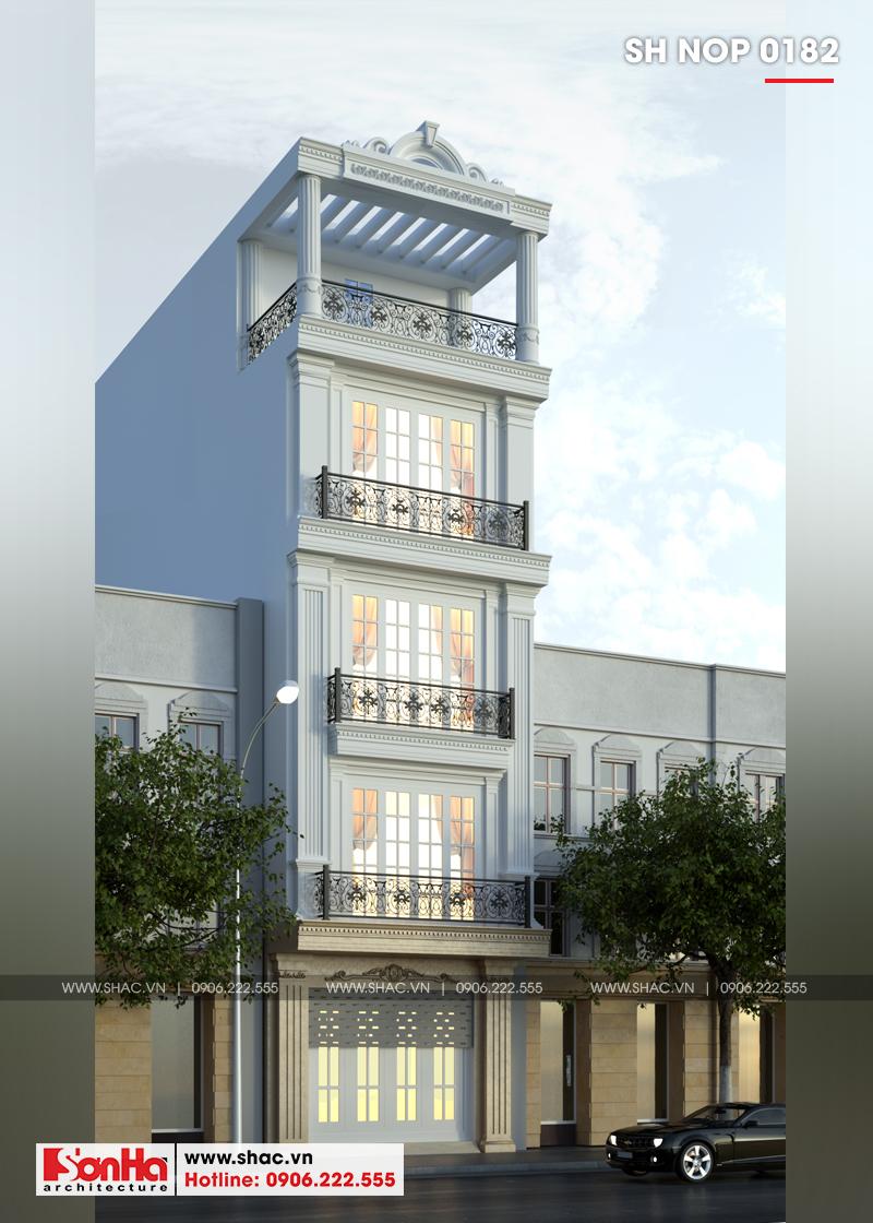 Thiết kế nhà ống tân cổ điển 4 tầng mặt tiền 5m tại Hải Phòng – SH NOP 0182 2