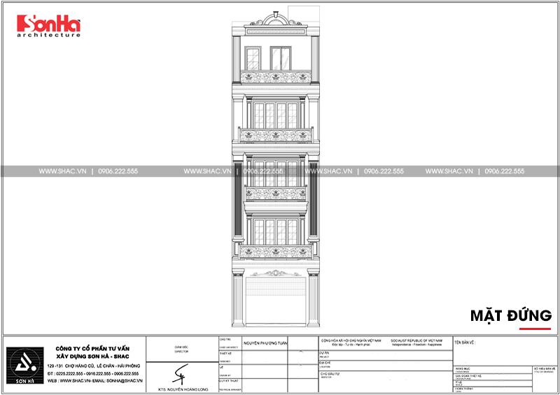 Thiết kế nhà ống tân cổ điển 4 tầng mặt tiền 5m tại Hải Phòng – SH NOP 0182 3