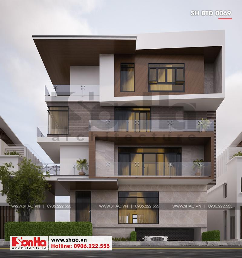 Biệt thự phố hiện đại mặt tiền 15m có tầng hầm tại Thái Bình – SH BTD 0069 1
