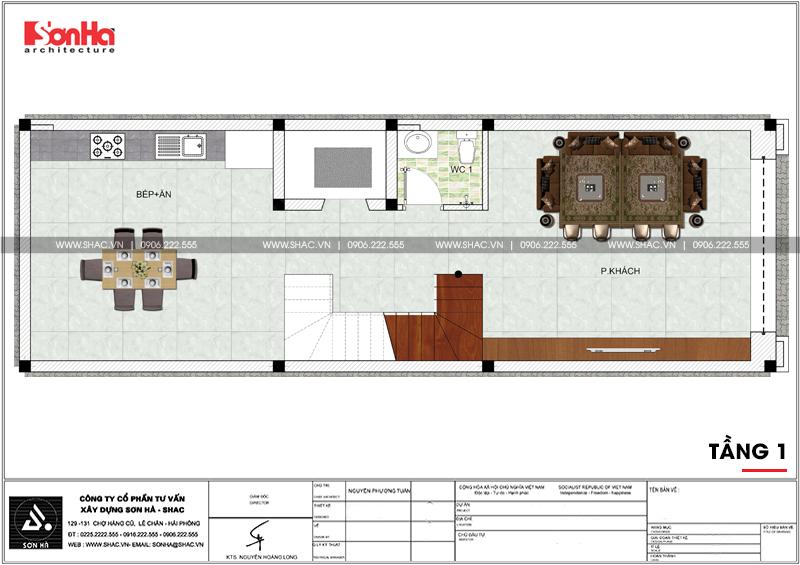 Thiết kế nhà ống tân cổ điển 4 tầng mặt tiền 5m tại Hải Phòng – SH NOP 0182 4