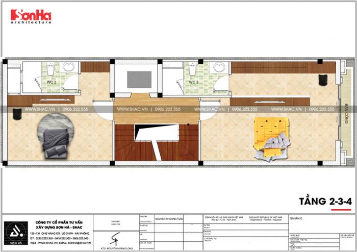 Mặt bằng bố trí công năng tầng 2 đến 4 của mẫu nhà phố đẹp tân cổ điển tại Hải Phòng
