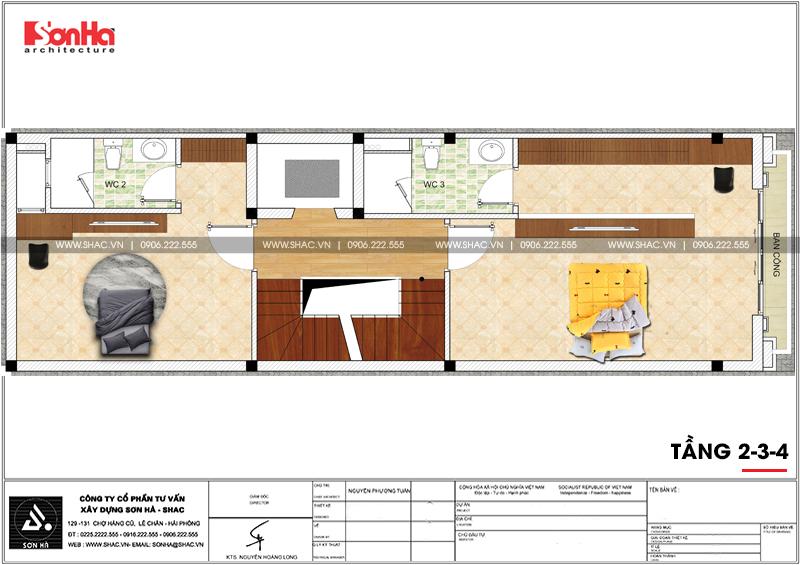 Thiết kế nhà ống tân cổ điển 4 tầng mặt tiền 5m tại Hải Phòng – SH NOP 0182 5