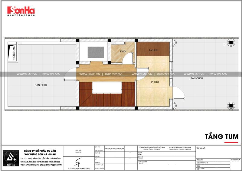 Thiết kế nhà ống tân cổ điển 4 tầng mặt tiền 5m tại Hải Phòng – SH NOP 0182 6