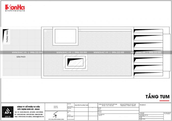 Mặt bằng bố trí công năng tầng mái của mẫu nhà phố đẹp tân cổ điển tại Hải Phòng