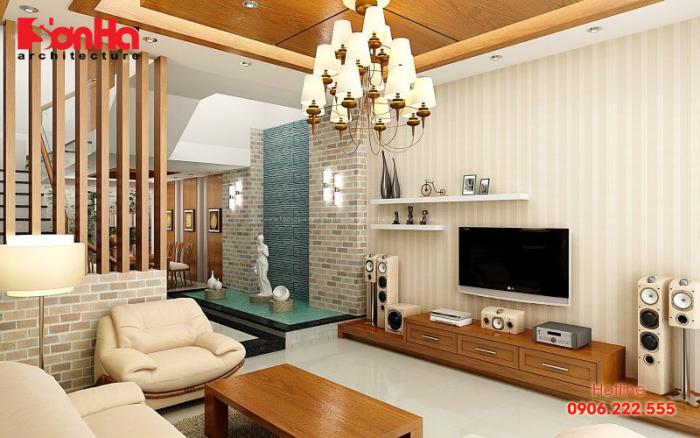 Cách trang trí phòng khách nhà ống đẹp với nội thất gỗ tự nhiên