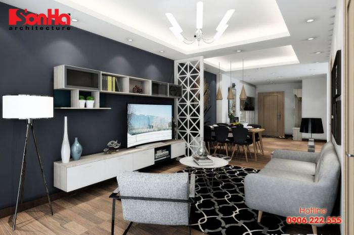 Mẫu phòng khách hiện đại gam màu trầm ấm với sắp xếp tinh tế ấn tượng