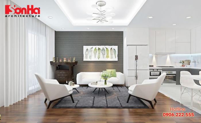 Mẫu thiết kế phòng khách căn hộ phong cách hiện đại cho chung cư mini