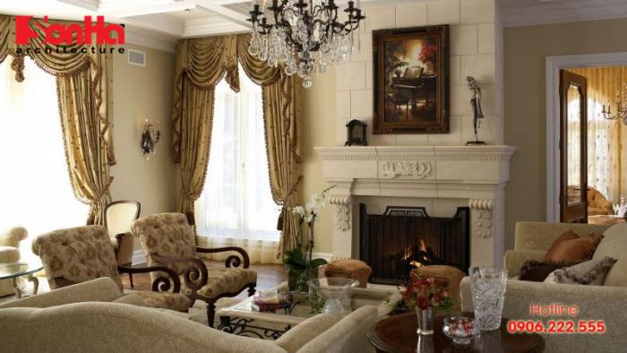 Mẫu thiết kế phòng khách kiểu Pháp cổ điển đẹp đến từng tiểu tiết