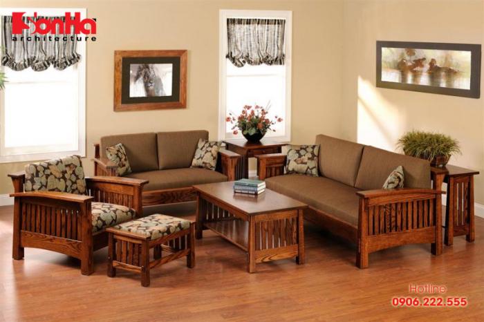 Phong cách trang trí nội thất phòng khách kiểu Á Đông giản dị với nội thất gỗ