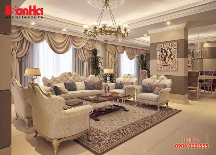 Thiết kế không gian phòng khách biệt thự cổ điển sang trọng và tinh tế