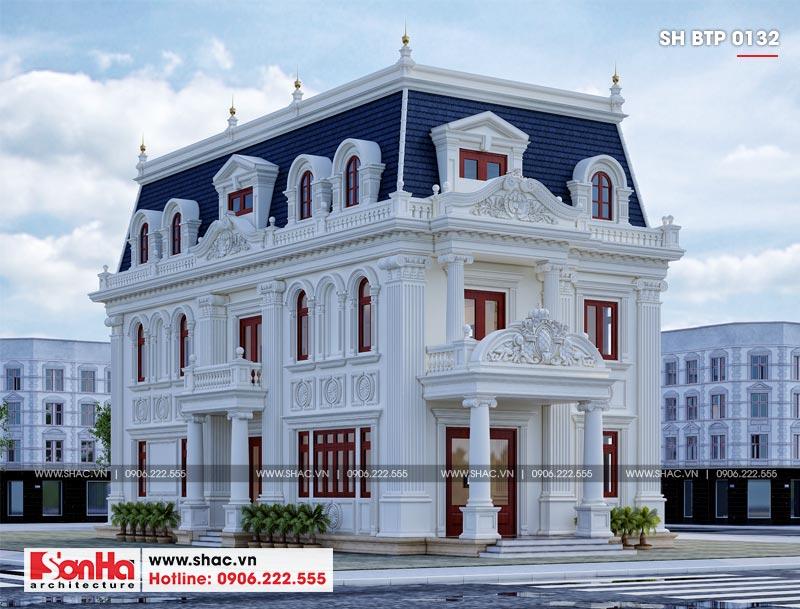 Mẫu biệt thự tân cổ điển 3 tầng mặt tiền rộng 10m tại Hà Nội - SH BTP 0132 1