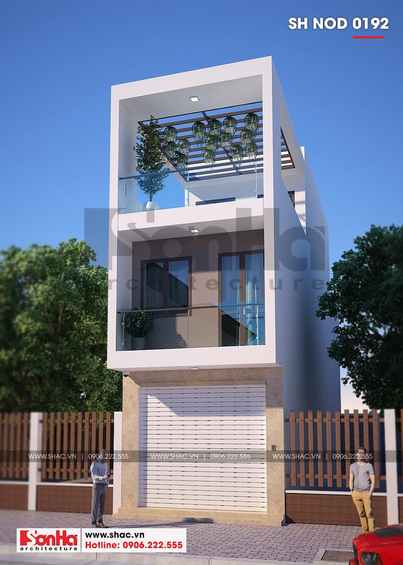 Mẫu nhà ống đẹp kiến trúc hiện đại có gara ô tô với 3 phòng ngủ tiện nghi