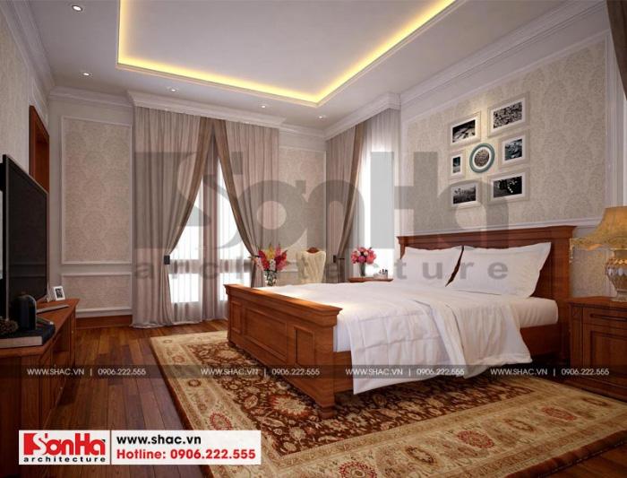 Nội thất phòng ngủ được bố trí khá giản dị nhưng vô cùng ấn tượng và đẹp mắt
