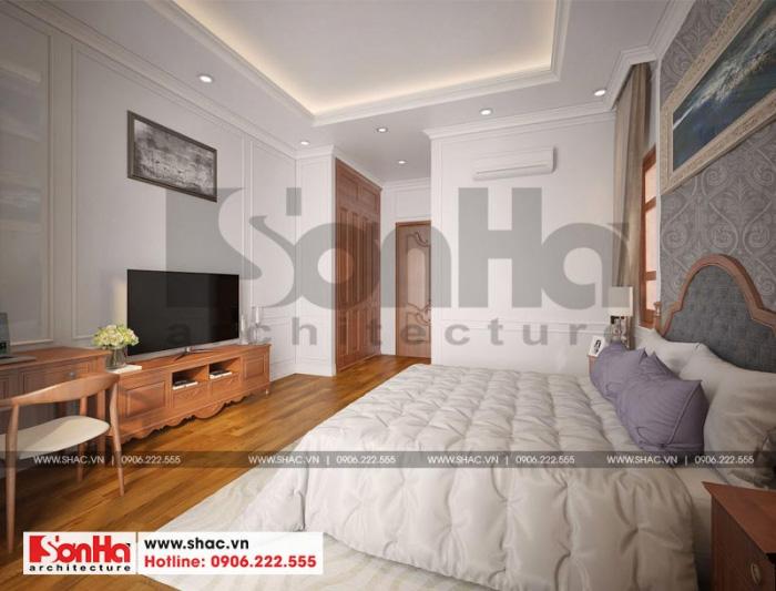 Thiết kế nội thất phòng ngủ ngôi biệt thự rất đề cao sự tiện dụng cho người sử dụng