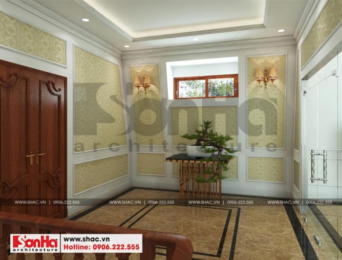 Phương án thiết kế sảnh thang thoáng đãng của ngôi biệt thự 3 tầng đẹp