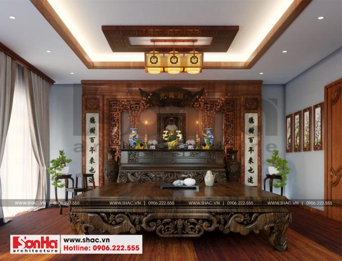 Thiết kế nội thất phòng thờ tôn nghiêm của ngôi biệt thự phong cách tân cổ điển