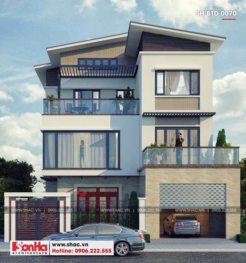 Thiết kế biệt thự hiện đại 3 tầng mái thái có gara ô tô tại Quảng Ninh – SH BTD 0070 1