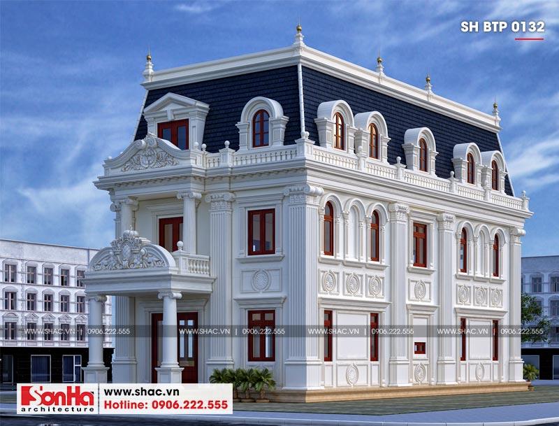 Mẫu biệt thự tân cổ điển 3 tầng mặt tiền rộng 10m tại Hà Nội - SH BTP 0132 4