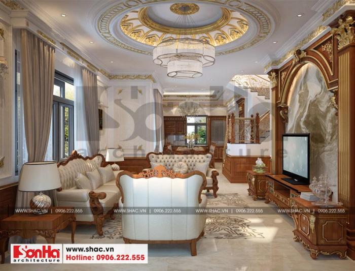 Phương án thiết kế nội thất phòng khách biệt thự Senturia đẹp với nội thất gỗ
