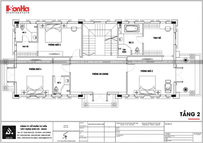 Bản vẽ mặt bằng công năng tầng 2 của ngôi biệt thự tân cổ điển diện tích 231,9m2