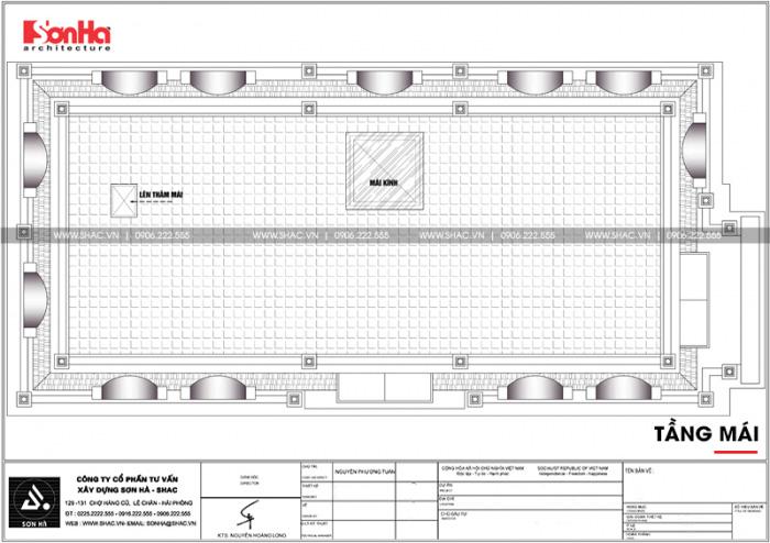 Mặt bằng mái biệt thự tân cổ điển châu âu 3 tầng với những đường nét cách tân tinh tế