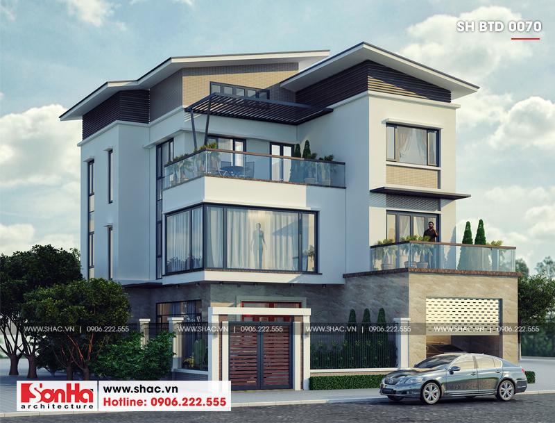 Thiết kế biệt thự hiện đại 3 tầng mái thái có gara ô tô tại Quảng Ninh – SH BTD 0070 2