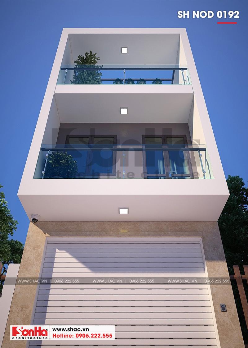 Các tầng của ngôi nhà phố 3 tầng hiện đại đều được bố trí ban công thoáng đãng