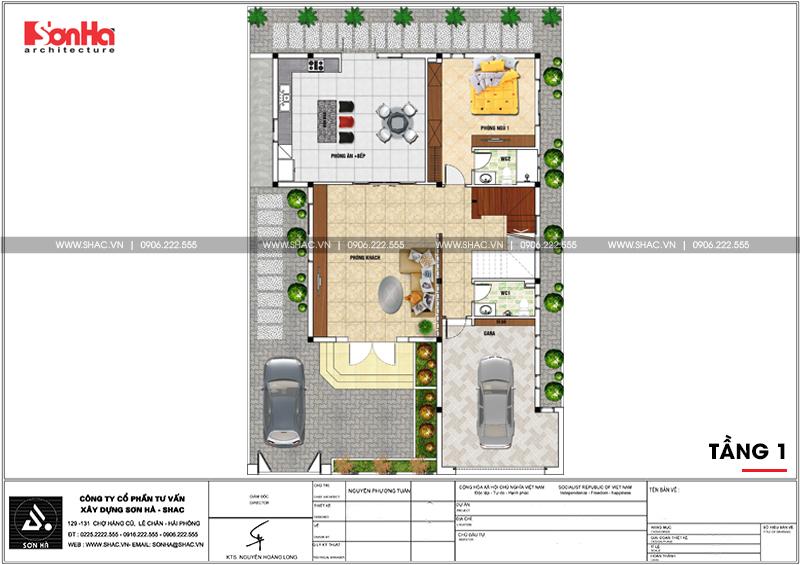 Thiết kế biệt thự hiện đại 3 tầng mái thái có gara ô tô tại Quảng Ninh – SH BTD 0070 4