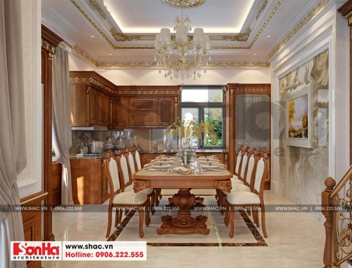 Không gian nội thất phòng bếp ăn biệt thự xa hoa với đồ gỗ tự nhiên trang trí ấn tượng