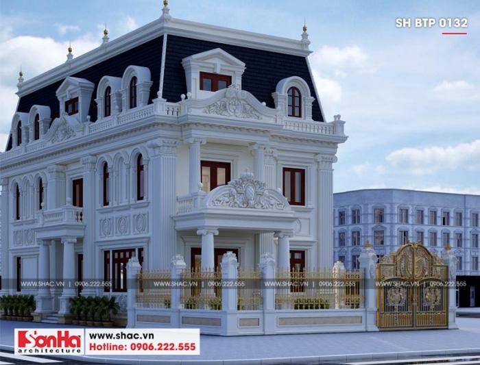 Tổng thể phối cảnh ngôi biệt thự từ tường rào đến kiến trúc mặt tiền 10m