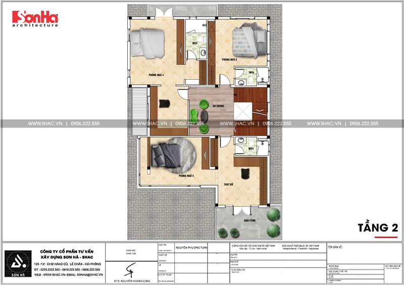 Thiết kế biệt thự hiện đại 3 tầng mái thái có gara ô tô tại Quảng Ninh – SH BTD 0070 5