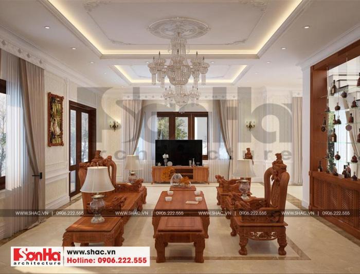 Thiết kế nội thất phòng khách biệt thự tân cổ điển đẹp với cách bố trí thoáng đãng