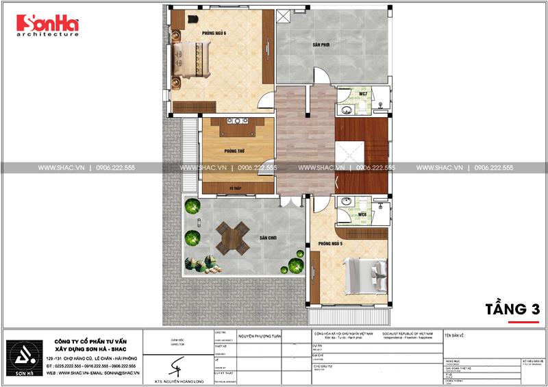 Thiết kế biệt thự hiện đại 3 tầng mái thái có gara ô tô tại Quảng Ninh – SH BTD 0070 6