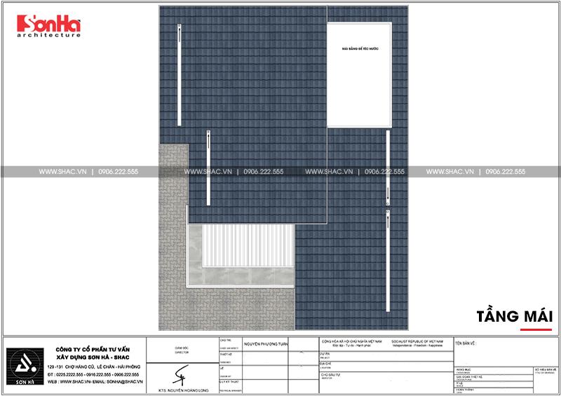Thiết kế biệt thự hiện đại 3 tầng mái thái có gara ô tô tại Quảng Ninh – SH BTD 0070 7