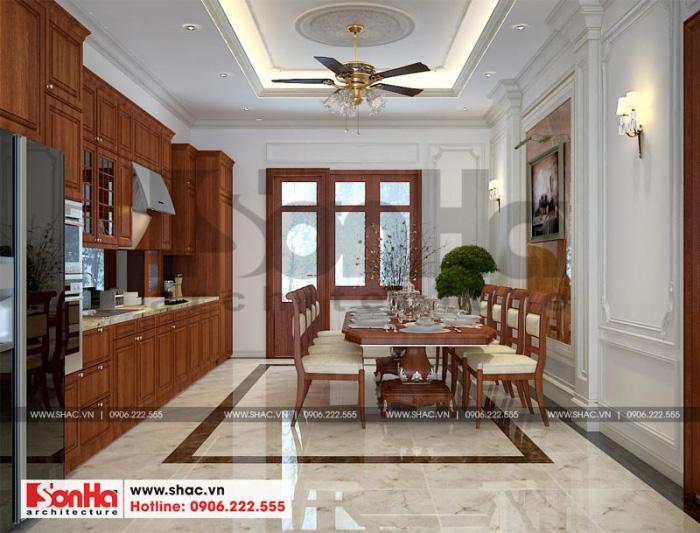 Thiết kế nội thất phòng bếp ăn với nội thất gỗ tự nhiên mang lại không gian ấm cúng