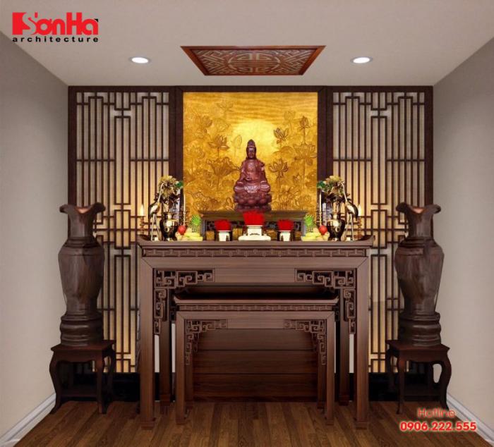 Chất liệu gỗ được sử dụng khá nhiều trong bố trí phòng thờ