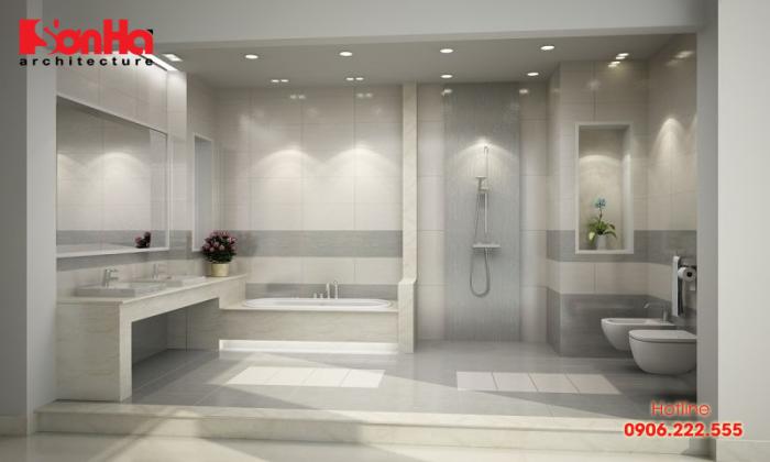 Diện tích 9-10m2 được cho là diện tích khá lớn cho một phòng tắm nhà ở dân dụng