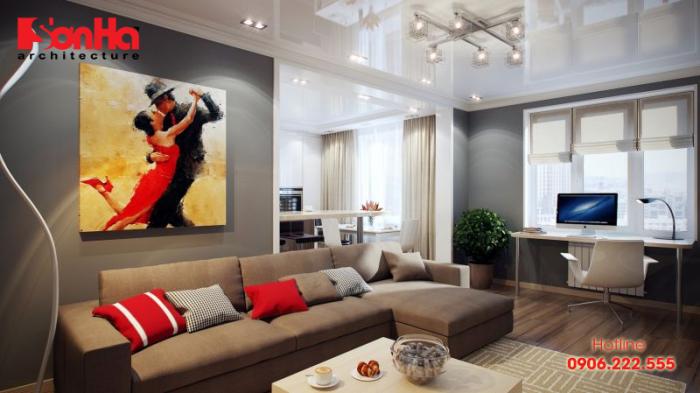 Mẫu thiết kế không gian phòng khách ấn tượng vô cùng với màu nâu