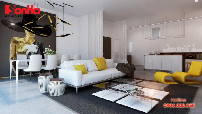 Mẫu thiết kế nội thất phòng khách trang trí màu vàng ấn tượng hiện đại