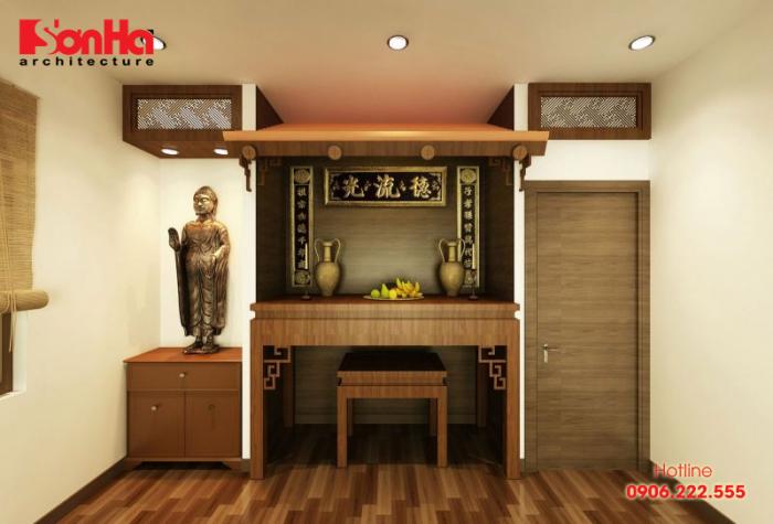 Mẫu thiết kế phòng thờ phật tối giản và đảm bảo phong thủy