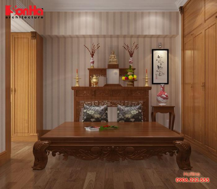 Một mẫu thiết kế nội thất phòng thờ cho không gian biệt thự hiện đại
