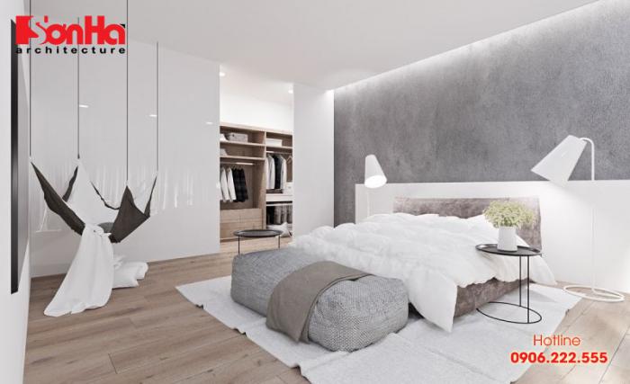 Phòng ngủ được thiết kế ấm áp, nhẹ nhàng phong cách hiện đại cho mệnh Thổ