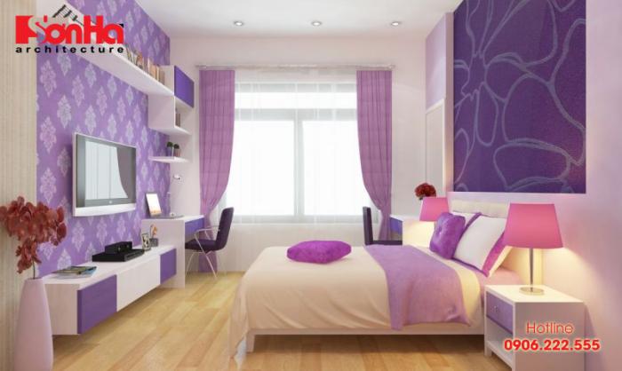 Phòng ngủ nhẹ nhàng, đơn giản mà vẫn đẹp với màu tím hợp mệnh Thổ