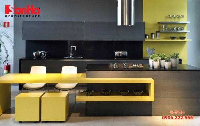 Sáng chói không gian bếp màu vàng phong thủy cho người mệnh Thổ